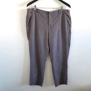 ELEVENSES Linen Tencel Purple Capri Pants